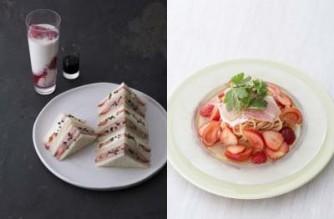 福岡県産あまおうのいちごミルク(写真左・奥)、福岡県産あまおうのいちごサンドイッチ(写真左・手前)、福岡県産あまおう苺とフルーツトマトの冷たいスパゲッティ生ハム添え(右)