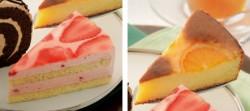 苺とヨーグルトのムースケーキ(左)、オレンジケーキ(右)