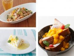 タコとズッキーニのオリーブソースパスタ(左上)、レモンのトライフルケーキ(左下)、ライ麦パンの焼きたてフレンチトースト マンゴー with 塩キャラメルソース(右)