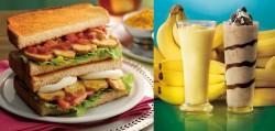 2つの味が楽しめる季節の定番トースト「日南どりのタンドリー~スパイシー&マイルド~」(左)、朝食代わりにもなる「フレッシュバナナオレ」と「フレッシュチョコバナナオレ」(右)