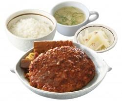 人気の煮込み肉とデラハンバーグの合盛り「デカッ!ハンバーグ皿定食」