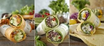 ヘルシーな新サラダラップ登場。メキシカンアボカド(左)、雑穀 & ビーンズ バジル(中央)、12品目野菜 レモンクリーム(右)