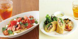 夏の新作フード「スパイシーチキンとライスのベジロール」(右)、季節のパスタ「フレッシュトマトとカッテージチーズのパスタ」(左)