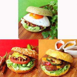 パクチーベーグルを使った新作サンド「ガパオ」(上)、タコスチーズベーグルとタコスを合わせた「タコス」(下段左)、カレーチーズベーグルと肉厚チキンの「タンドリーチキン」(下段右)