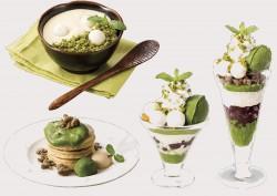 宇治抹茶のティラミス(左上)、宇治抹茶のパンケーキ(左下)、宇治抹茶のミニパルフェ(中央)、宇治抹茶のザ・サンデー(右)