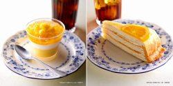 夏にうれしい「マンゴーとココナッツのプリン」(左)、「キャラメルオレンジミルクレープ」(右)