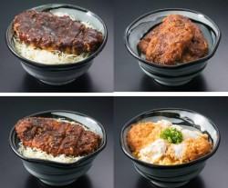 上段左から、名古屋八丁味噌かつ丼、福井ソースかつ丼。下段左から伊那ソースかつ丼、かつ丼