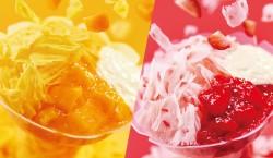 フルーツの果肉と果汁を混ぜ込んだアイスを削った「マンゴーヨーグルト」(左)と「ストロベリーヨーグルト」(右)