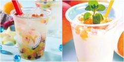 フルーツバブルが弾ける新食感ドリンク「バブルアップ」(左)、「マンゴーシェケラーテ」(右)