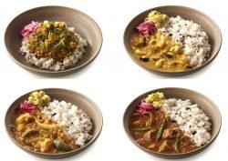 新作カレー。上段左から、カリフラワーのキーマカリー、カシューナッツのホッダ(スリランカ風ココナッツカレー)。下段左からサンバール(豆と野菜のスパイスカレー)、魚のスリランカ風スパイスカレー