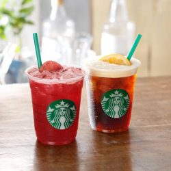 オーダーごとにバリスタがシェイクするシェイクンシリーズ。シェイクン ストロベリー パッション ティー(左)、シェイクン アイス バレンシア コーヒー(右)