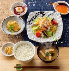 彩野菜の豚しゃぶ定食【アジの大葉フライ付き】