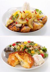 渋谷店限定のスーパーフーズ(上)、クアトロチーズとキヌアのサラダ(下)
