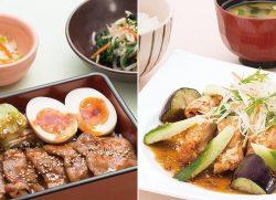 炭火焼き四元豚の甘辛重(左)、香辛だれの鶏竜田定食(右)
