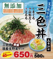 暑い夏にさっぱりとした「三色丼」