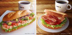 秋の新作サンド「ミラノサンドB  ごろっとアボカドとぷりっとエビ」(左)、「朝カフェ・セットB ハニーグリルドベーコン~瀬戸内レモンクリームチーズソース~」(右)