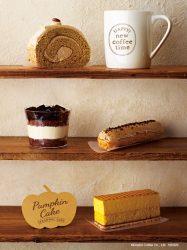 米粉のコーヒーロール(上段)、自家製コーヒーゼリーと豆乳のティラミス(中段左)、エクレア~コーヒー~(中段右)、2層のパンプキンケーキ(下段)