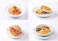 いくらと炙りサーモンのクリームパスタ(左上)、パニーニ・グリルマッシュルームとベーコン(右上)、ロゼッタ モルタデッラ&スモークチーズ(左下)、彩り野菜のクリームニョッキ(右下)