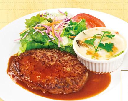 ハンバーグ&牡蠣のグラタン風オーブン焼き