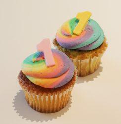 1周年記念で3日間限定で販売される「レインボーカップケーキ」