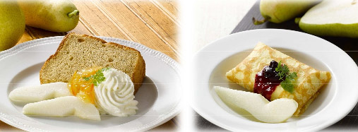 洋梨と紅茶のシフォンケーキ~オレンジマーマレード~(左)、洋梨&クレープ・クッション(右)