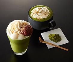 京都府産宇治抹茶を使った「[濃]宇治抹茶ラテ」(左)、和のフローズンパフェ「[雅]宇治抹茶&白玉」(左)