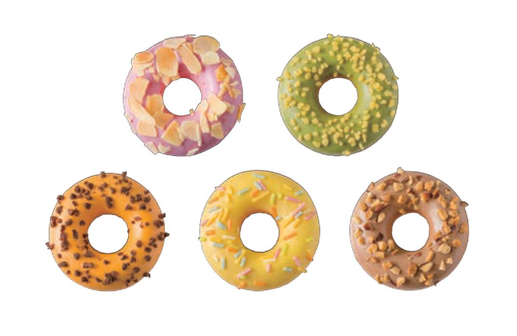 カラフル・ポン・デ・Jr.(ジュニア)。左からオレンジ、ストロベリー、レモン、抹茶、カフェオレ