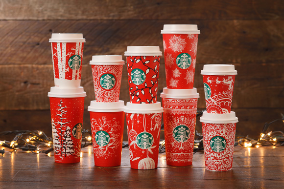 Starbucks Red Holiday Cups。左上から順番に、Birch Forest(United States)、Graphic Swirls(Canada)、Holiday Lights(United States)、Poinsettia(United States)、Sleigh Ride(South Korea) 。左下から順番に、Evergreen Forest(United States)、Birds & Flowers(Indonesia)、Ornaments(United Arab Emirates)、Snowflake Sweater(Russia) 、Candy Canes(United States)