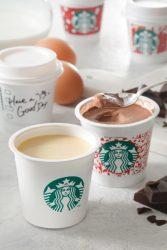 ミルクカスタードプリン(左)、チョコレートプリン(右)