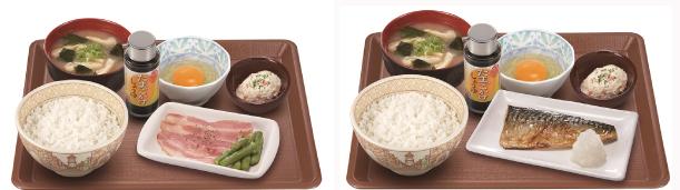 ベーコンアスパラ朝食(左)、塩さば朝食(右)