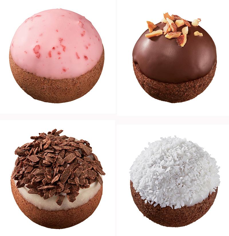 ポン・デ・ストロベリーショコラボール(上段左)、アーモンドチョコレートボール(上段右)、ポン・デ・ホワイト&ビターショコラボール(下段左)、ホワイトココナツチョコレートボール(下段右)