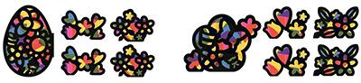 スマイルセット「はっ!ケン隊シリーズ ぺたぺたステンドグラス風ペーパー」。イースター編(左)、フラワー編(右)