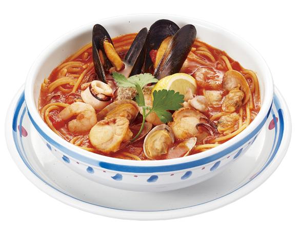 海の幸! ハラペーニョの辛口トマトスープパスタ