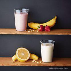 とちおとめとバナナの豆乳スムージー(上)、日向夏とバナナの豆乳スムージー(下)