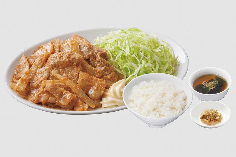 豚バラピリ辛ゴマ味噌炒め定食