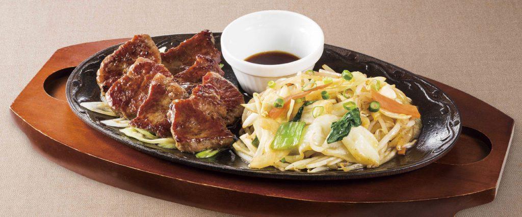 シャキシャキ野菜の牛ロースカットステーキ~焼肉ソース