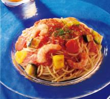 冷製パスタ 海老と夏野菜のトマトソース