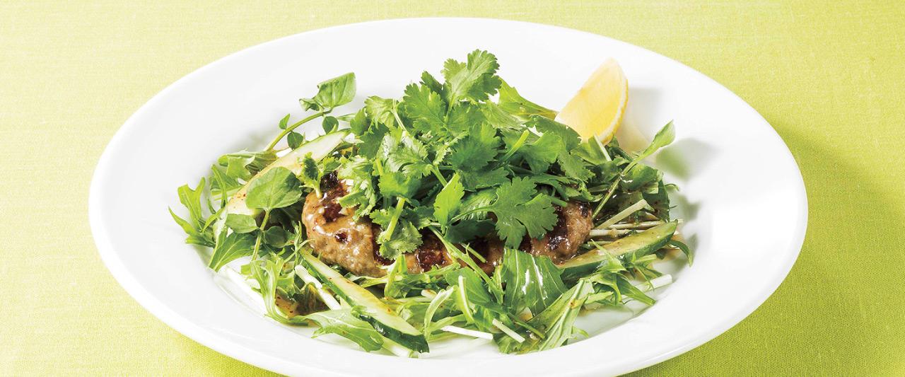 パクチーと緑野菜のアジアンハンバーグ