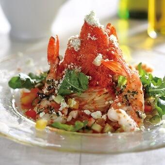 スノーアイスパスタ~海老と夏野菜のガスパチョスパゲッティ~