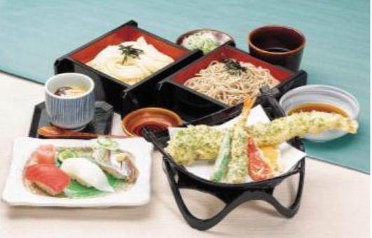 あなご天と相盛りセイロ御膳、季節のにぎり寿司付