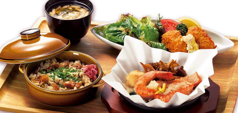 熊本 宮城 秋のご馳走膳~肥後のうまか赤鶏の高菜ごはん&銀鮭・帆立・海老のみぞれ煮&牡蠣フライ~