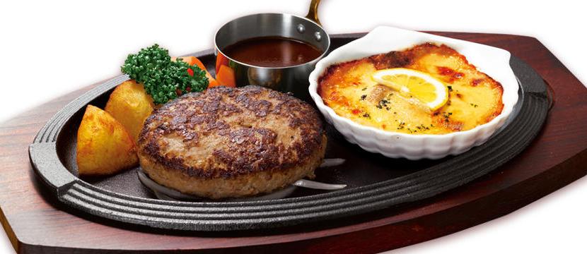 ハンバーグステーキ&蒸し牡蠣のグラタン