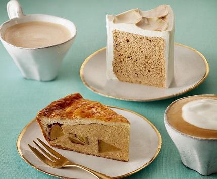 左から、「メープルスイートポテトパイ」「シフォンケーキミルクティー」