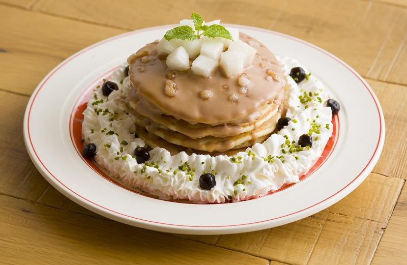 和梨とタピオカミルクティーパンケーキ