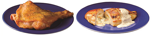 五穀味鶏 ローストレッグ(左)、五穀味鶏 胸肉ロースト(右)