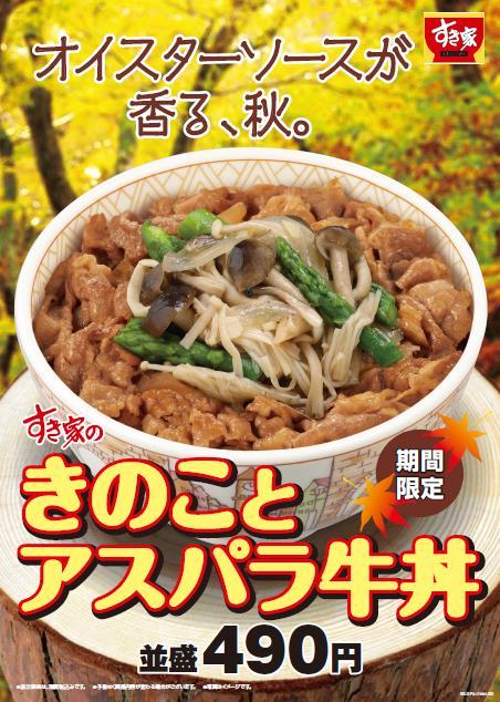 きのことアスパラ牛丼