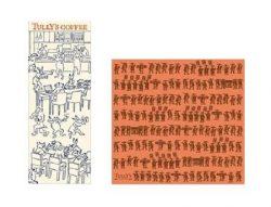 「 タリーズ手ぬぐい鳥獣戯画(コーヒータイム) 」(左)と「タリーズFUROSHIKI(行列)」(右)