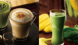 左「ほうじ茶カプチーノ~黒みつ添え~」、右「小松菜&バナナのスムージー」