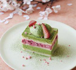 「抹茶とラズベリーのショートケーキ」