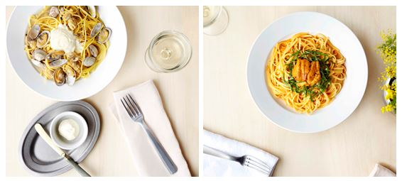 左「マスカルポーネとあさりのスープスパゲティ」、右「濃厚生うにのリングイネ トマトクリームソース」